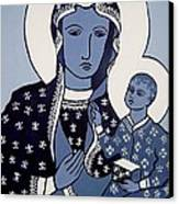 The Black Madonna In Blue Canvas Print