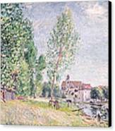 The Builder's Yard At Matrat Moret-sur-loing Canvas Print by Alfred Sisley