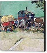 The Caravans   Gypsy Encampment Near Arles Canvas Print by Vincent Van Gogh