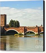 The Castelvecchio Bridge In Verona Canvas Print by Kiril Stanchev