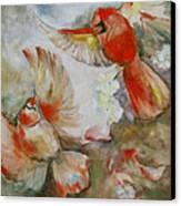 The Dance Of The Cardinals Canvas Print by Susan Hanlon
