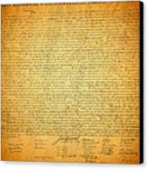 The Declaration Of Independence - America's Founding Document Canvas Print