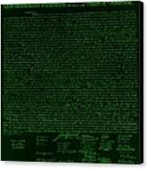 The Declaration Of Independence In Negative Green Canvas Print by Rob Hans