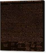 The Declaration Of Independence In Negative Orange Canvas Print by Rob Hans