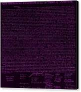 The Declaration Of Independence In Negative Purple Canvas Print by Rob Hans