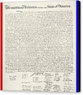 The Declaration Of Independence In Red White And Blue Canvas Print by Rob Hans