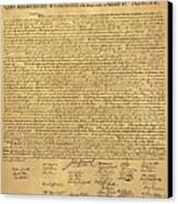 The Declaration Of Independence In Sepia Canvas Print by Rob Hans