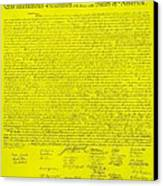 The Declaration Of Independence In Yellow Canvas Print by Rob Hans