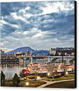 The Delta Queen And Coolidge Park At Dusk Canvas Print by Steven Llorca