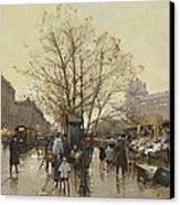 The Docks Of Paris Les Quais A Paris Canvas Print by Eugene Galien-Laloue