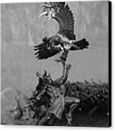 The Eagle And The Indian In Black And White Canvas Print