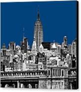 The Empire State Building Pantone Blue Canvas Print by John Farnan