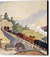 The First Paris To Rouen Railway, Copy Canvas Print by French School