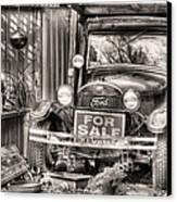The Garage Sale Black And White Canvas Print by JC Findley
