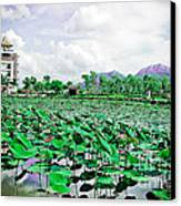 The Great Lotus Flower Pond Canvas Print by Jeng Suntorn niamwhan