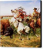 The Great Royal Buffalo Hunt Canvas Print by Louis Maurer
