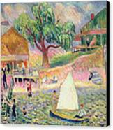 The Green Beach Cottage Canvas Print