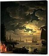 The Harbor Of Palermo Canvas Print by Claude Joseph Vernet