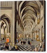 The Interior Of A Gothic Church Canvas Print by Hendrik the Younger Steenwyck