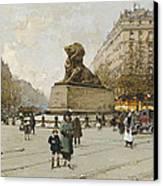The Lion Of Belfort Le Lion De Belfort Canvas Print by Eugene Galien-Laloue