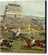 The Liverpool Grand National Steeplechase Coming In Canvas Print by Charles Hunt and Son
