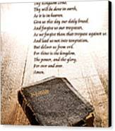 The Lord's Prayer And Bible Canvas Print by Olivier Le Queinec