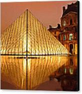 The Louvre By Night Canvas Print by Ayse Deniz