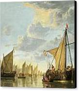 The Maas At Dordrecht Canvas Print by Aelbert Cuyp