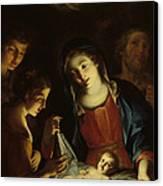 The Madonna Adoring The Infant Christ Canvas Print by Pietro Antonio Rotari
