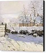The Magpie Snow Effect Canvas Print by Claude Monet