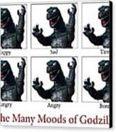 The Many Moods Of Godzilla Canvas Print by William Patrick