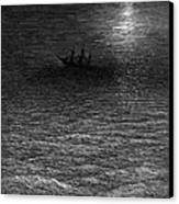 The Marooned Ship In A Moonlit Sea Canvas Print