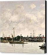 The Meuse At Dordrecht Canvas Print by Eugene Louis Boudin