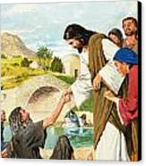 The Miracles Of Jesus  Making The Lame Man Walk Canvas Print