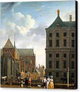 The Nieuwe Kerk And The Rear Of The Town Hall In Amsterdam  Canvas Print by Isaak Ouwater
