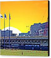 The Old And New Yankee Stadiums Side By Side At Sunset Canvas Print by Nishanth Gopinathan
