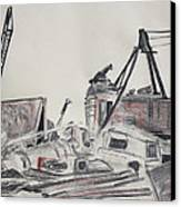 The Old Berkeley Marina Junk Heap On A Foggy Day Canvas Print by Asha Carolyn Young