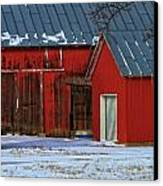 The Old Red Barn In Winter Canvas Print