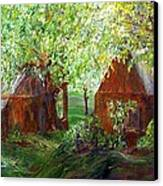 The Old Swing Between The House And The Barn Canvas Print