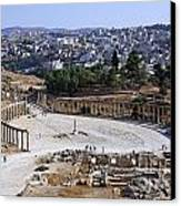 The Oval Plaza At Jerash In Jordan Canvas Print