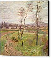 The Plain At Gennevilliers Canvas Print by Claude Monet