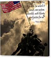 The Pledge Of Allegiance - Iwo Jima 20130211v2 Canvas Print by Wingsdomain Art and Photography