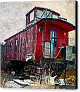 The Red Caboose Canvas Print by Dianne  Lacourciere