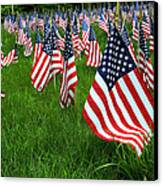 The Red White And Blue  American Flags Canvas Print