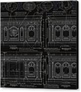 The Resolute Desk Blueprints- Black/white Line Canvas Print by Kenneth Perez