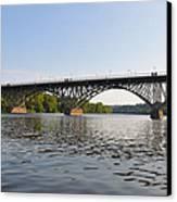 The Schuylkill River And Strawbery Mansion Bridge Canvas Print by Bill Cannon