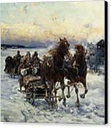 The Sleigh Ride Canvas Print by Alfred von Wierusz Kowalski