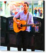 The Street Performer On Market Street - 5d20725 Canvas Print