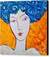 The Strength Of Grace Expressionist Girl Portrait Canvas Print by Ana Maria Edulescu