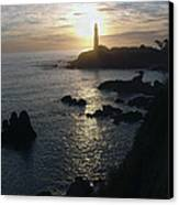 The Sun Is Setting Behind The Pigeon Point Light Station Near Ano Nuevo Canvas Print